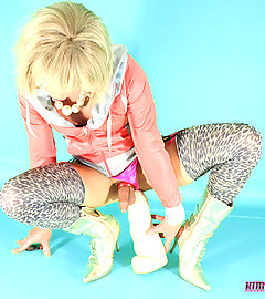 Blonde slut Kim has a brand new monster toy to play with