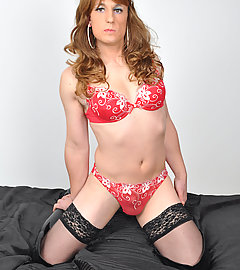 Horny blonde TGirl showing off her gorgeous little body