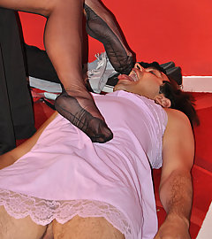 Nylon Jane lets this sissy suck and lick her nylon covered feet
